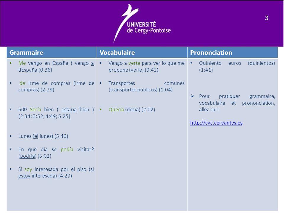 Commentaires en Espagnol Vocabulario y gramática: «El nivel de lengua es adecuado para la realización de la tarea, hay variedad de expresiones y vocabulario con pequeños errores de vocabulario y gramática que no impiden la comunicación».