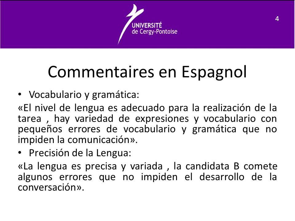 Commentaires en Espagnol Vocabulario y gramática: «El nivel de lengua es adecuado para la realización de la tarea, hay variedad de expresiones y vocab