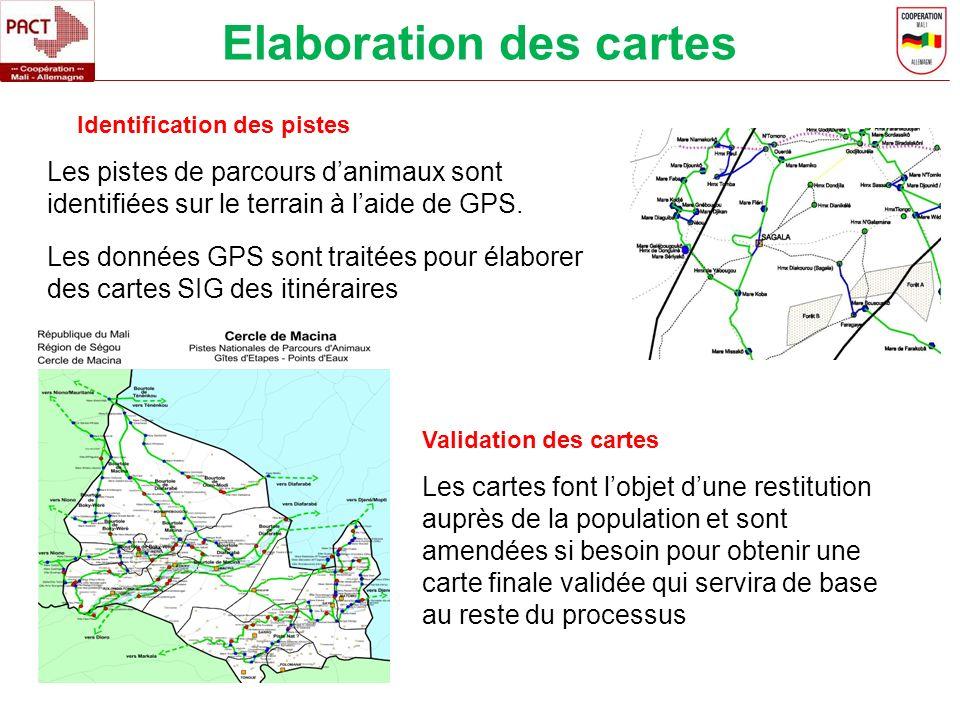Elaboration des cartes Les pistes de parcours danimaux sont identifiées sur le terrain à laide de GPS. Les données GPS sont traitées pour élaborer des
