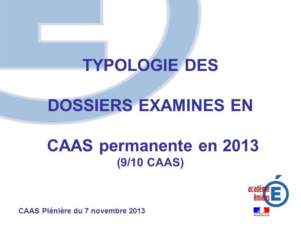 TYPOLOGIE DES DOSSIERS EXAMINES EN CAAS permanente en 2013 (9/10 CAAS) CAAS Plénière du 7 novembre 2013