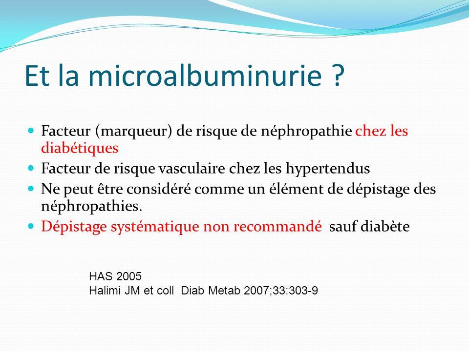 Et la microalbuminurie ? Facteur (marqueur) de risque de néphropathie chez les diabétiques Facteur de risque vasculaire chez les hypertendus Ne peut ê