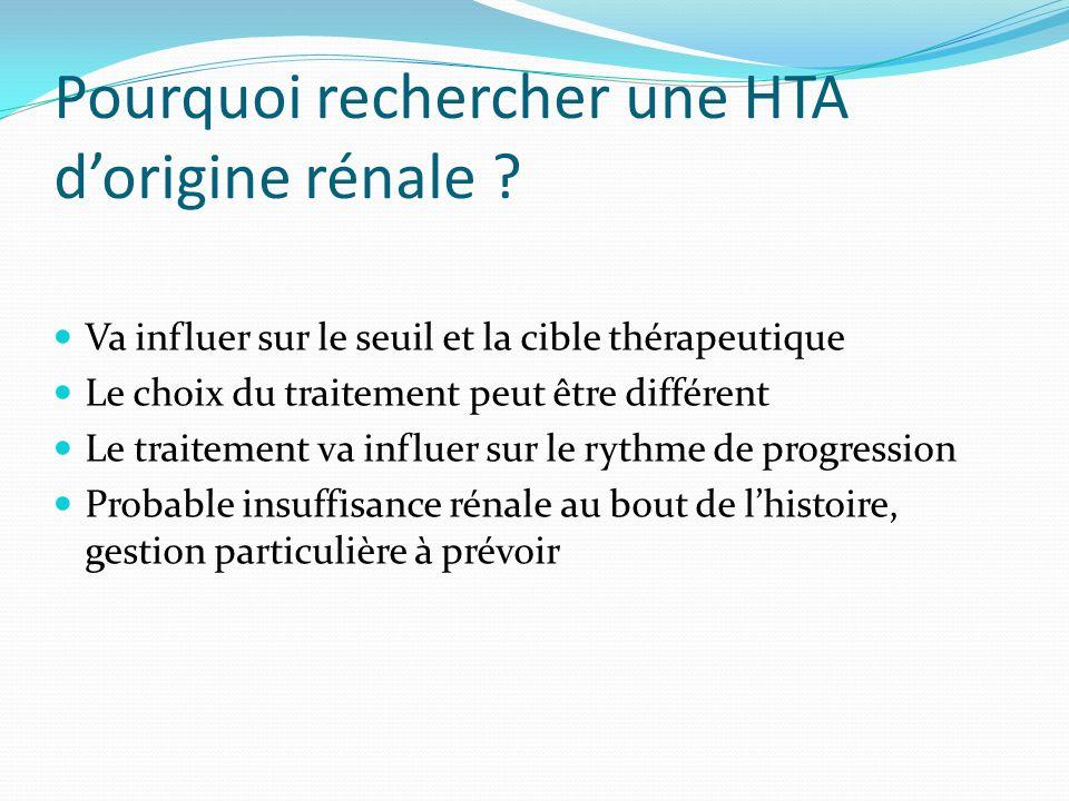 Pourquoi rechercher une HTA dorigine rénale ? Va influer sur le seuil et la cible thérapeutique Le choix du traitement peut être différent Le traiteme
