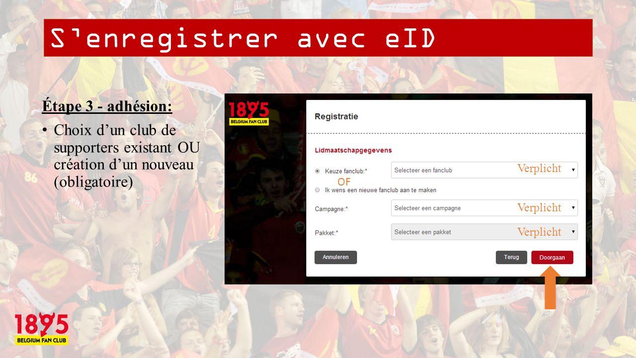 Senregistrer avec eID Étape 4 - confirmation: CAPTCHA pour raison de sécurité (obligatoire) Verplicht