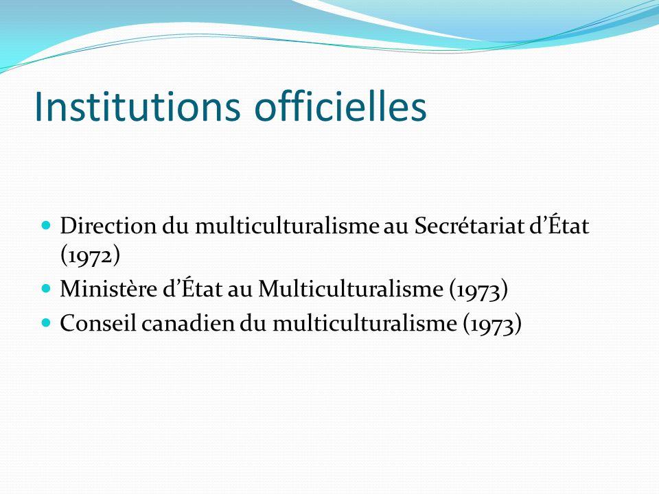 Institutions officielles Direction du multiculturalisme au Secrétariat dÉtat (1972) Ministère dÉtat au Multiculturalisme (1973) Conseil canadien du mu