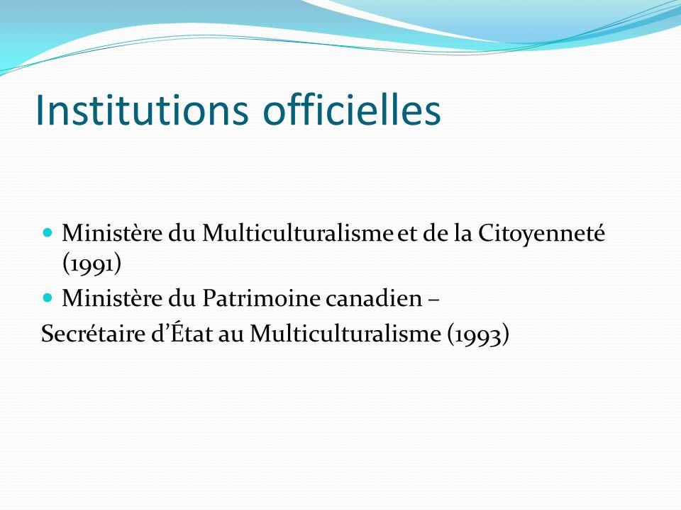 Institutions officielles Ministère du Multiculturalisme et de la Citoyenneté (1991) Ministère du Patrimoine canadien – Secrétaire dÉtat au Multicultur