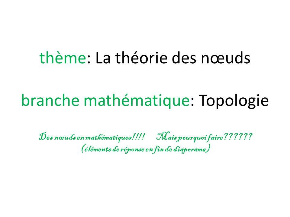 thème: La théorie des nœuds branche mathématique: Topologie Des nœuds en mathématiques!!!.