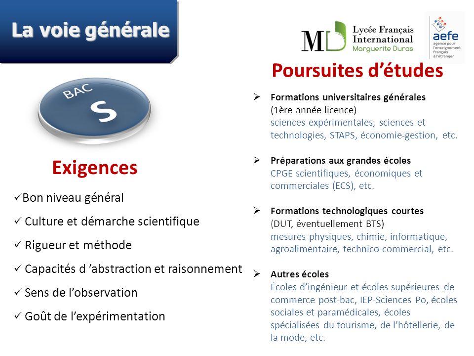 Formations universitaires générales (1ère année licence) sciences expérimentales, sciences et technologies, STAPS, économie-gestion, etc. Préparations