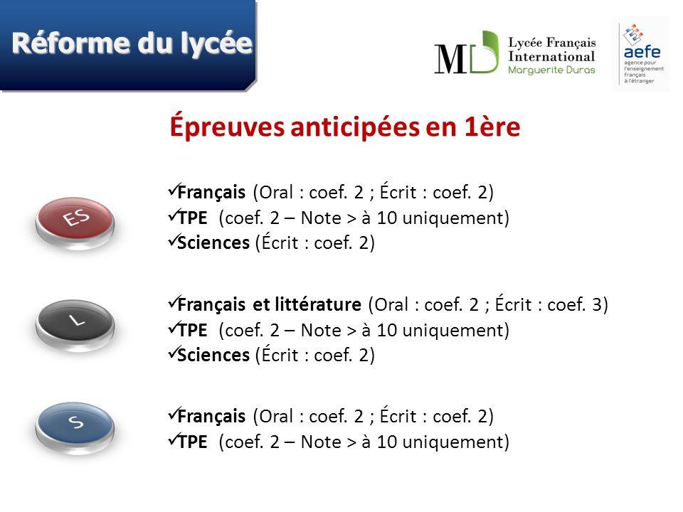 Épreuves anticipées en 1ère Français (Oral : coef. 2 ; Écrit : coef. 2) TPE (coef. 2 – Note > à 10 uniquement) Sciences (Écrit : coef. 2) Français et