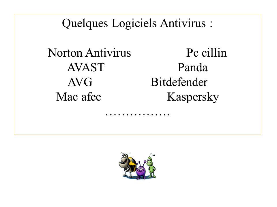 Quelques Logiciels Antivirus : Norton AntivirusPc cillin AVAST Panda AVGBitdefender Mac afeeKaspersky …………….
