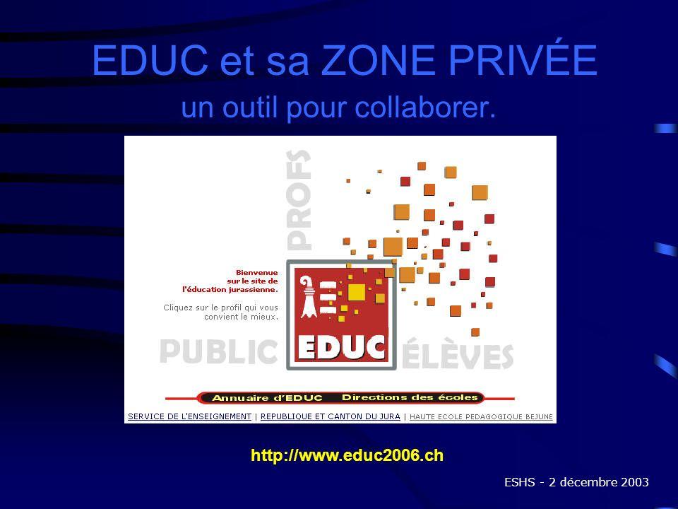 EDUC et sa ZONE PRIVÉE un outil pour collaborer. http://www.educ2006.ch ESHS - 2 décembre 2003