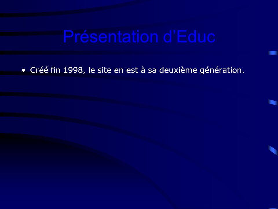 Créé fin 1998, le site en est à sa deuxième génération. Présentation dEduc