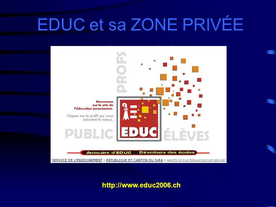 EDUC et sa ZONE PRIVÉE un outil pour collaborer. http://www.educ2006.ch