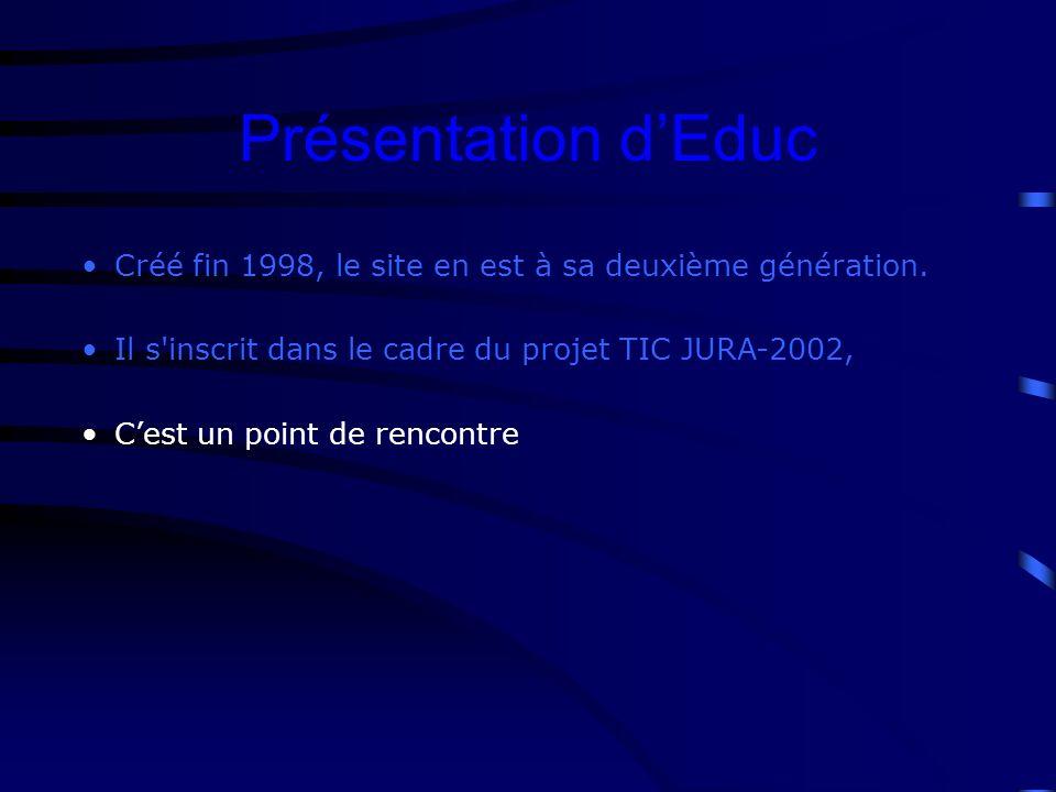 Présentation dEduc Créé fin 1998, le site en est à sa deuxième génération.