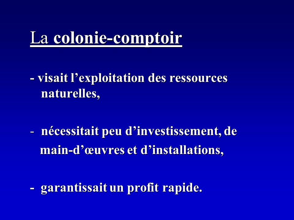 La colonie-comptoir - visait lexploitation des ressources naturelles, -nécessitait peu dinvestissement, de main-dœuvres et dinstallations, main-dœuvre