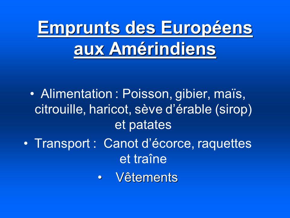 Emprunts des Européens aux Amérindiens Alimentation : Poisson, gibier, maïs, citrouille, haricot, sève dérable (sirop) et patates Transport : Canot dé