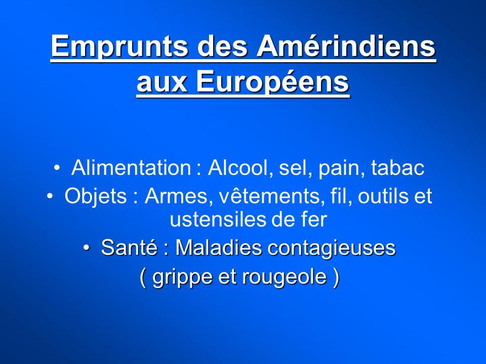 Emprunts des Amérindiens aux Européens Alimentation : Alcool, sel, pain, tabac Objets : Armes, vêtements, fil, outils et ustensiles de fer Santé : Mal