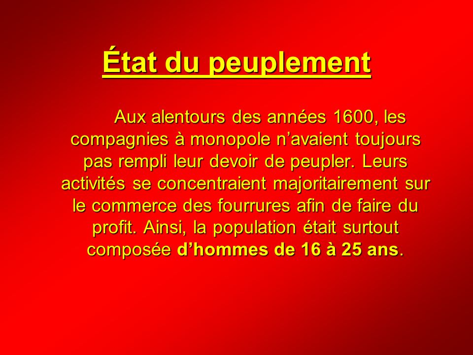 État du peuplement Aux alentours des années 1600, les compagnies à monopole navaient toujours pas rempli leur devoir de peupler. Leurs activités se co