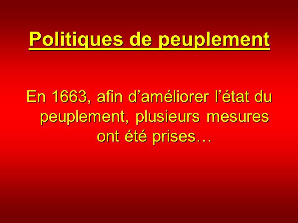 Politiques de peuplement En 1663, afin daméliorer létat du peuplement, plusieurs mesures ont été prises…