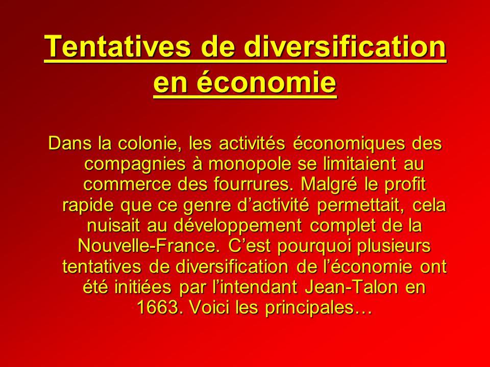 Tentatives de diversification en économie Dans la colonie, les activités économiques des compagnies à monopole se limitaient au commerce des fourrures
