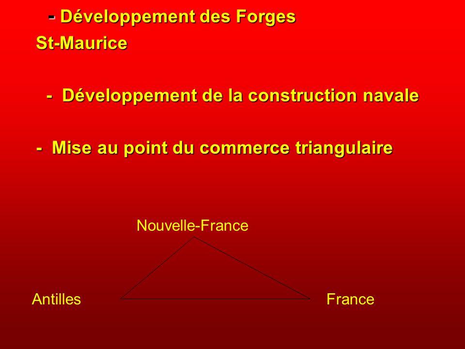 - Développement des Forges - Développement des ForgesSt-Maurice - Développement de la construction navale - Développement de la construction navale -