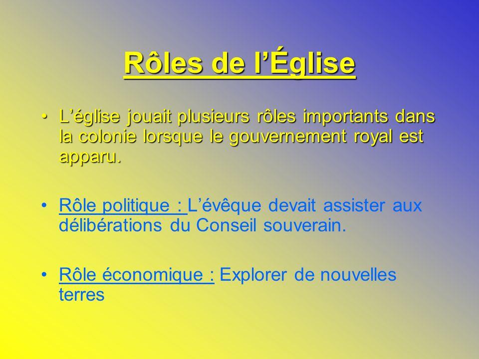 Rôles de lÉglise Léglise jouait plusieurs rôles importants dans la colonie lorsque le gouvernement royal est apparu. Léglise jouait plusieurs rôles im