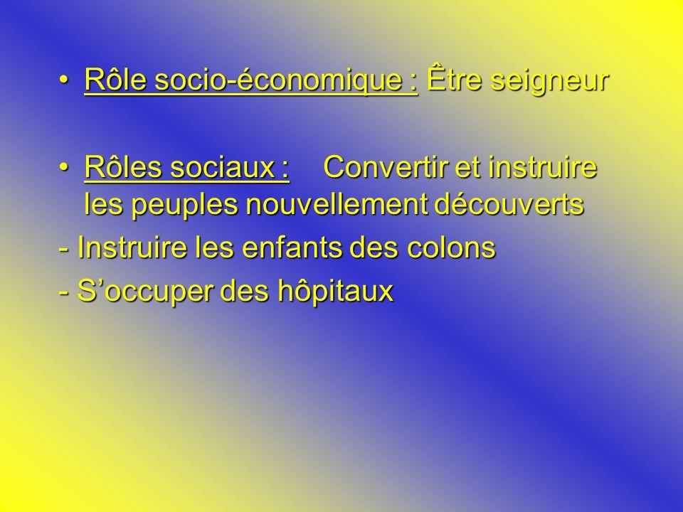 Rôle socio-économique : Être seigneurRôle socio-économique : Être seigneur Rôles sociaux : Convertir et instruire les peuples nouvellement découvertsR