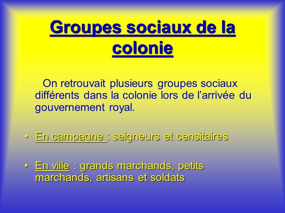 Groupes sociaux de la colonie On retrouvait plusieurs groupes sociaux différents dans la colonie lors de larrivée du gouvernement royal. En campagne :