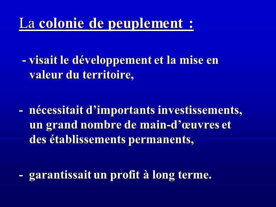 La colonie de peuplement : - visait le développement et la mise en valeur du territoire, - visait le développement et la mise en valeur du territoire,