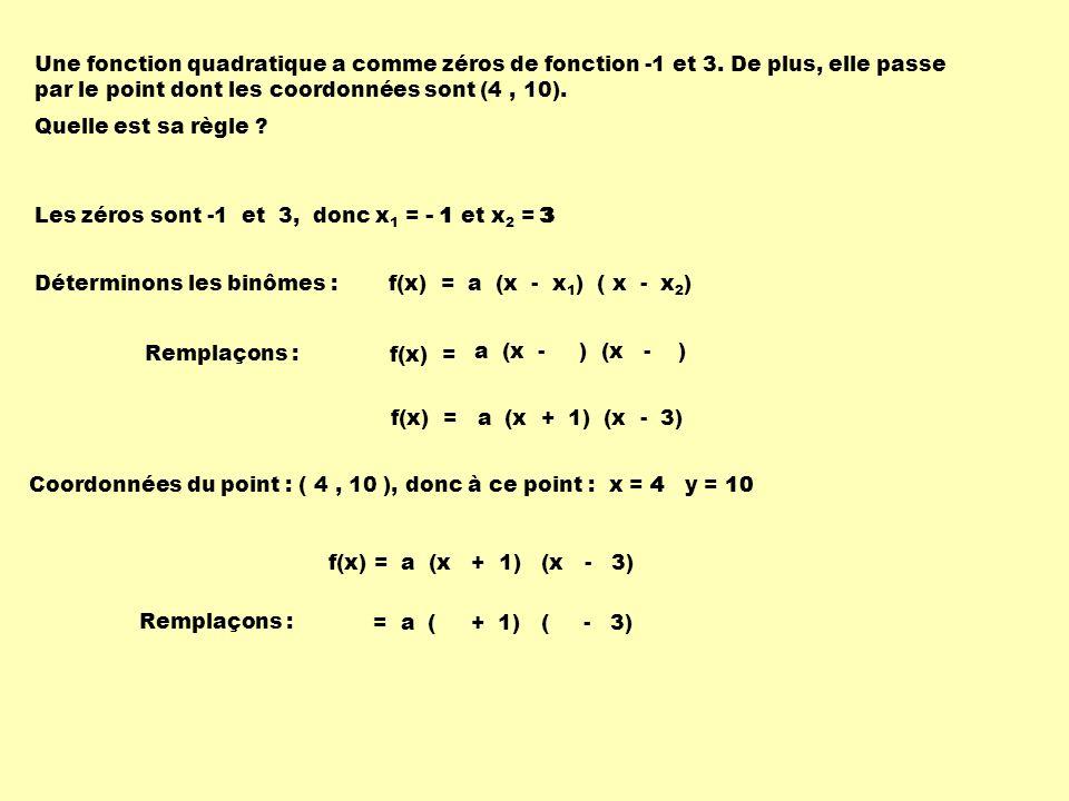 Une fonction quadratique a comme zéros de fonction -1 et 3. De plus, elle passe par le point dont les coordonnées sont (4, 10). Quelle est sa règle ?