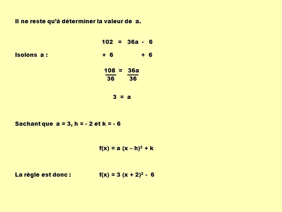102 = 36a - 6 + 6 Isolons a : 108 = 36a 36 3 = a Sachant que a = 3, h = - 2 et k = - 6 La règle est donc : f(x) = a (x – h) 2 + k f(x) = 3 (x + 2) 2 -