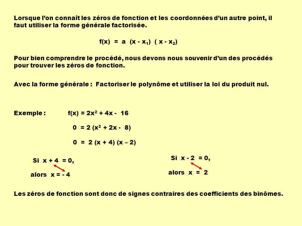 Lorsque lon connaît les zéros de fonction et les coordonnées dun autre point, il faut utiliser la forme générale factorisée. Pour bien comprendre le p