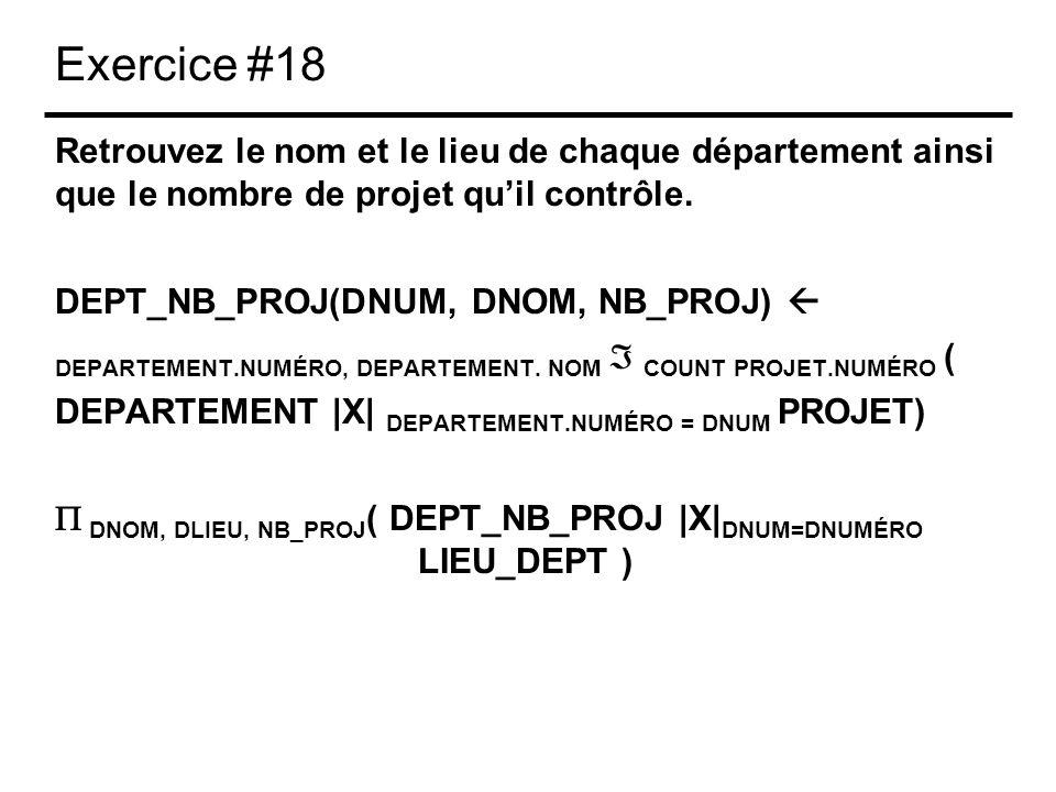 Exercice #18 Retrouvez le nom et le lieu de chaque département ainsi que le nombre de projet quil contrôle. DEPT_NB_PROJ(DNUM, DNOM, NB_PROJ) DEPARTEM