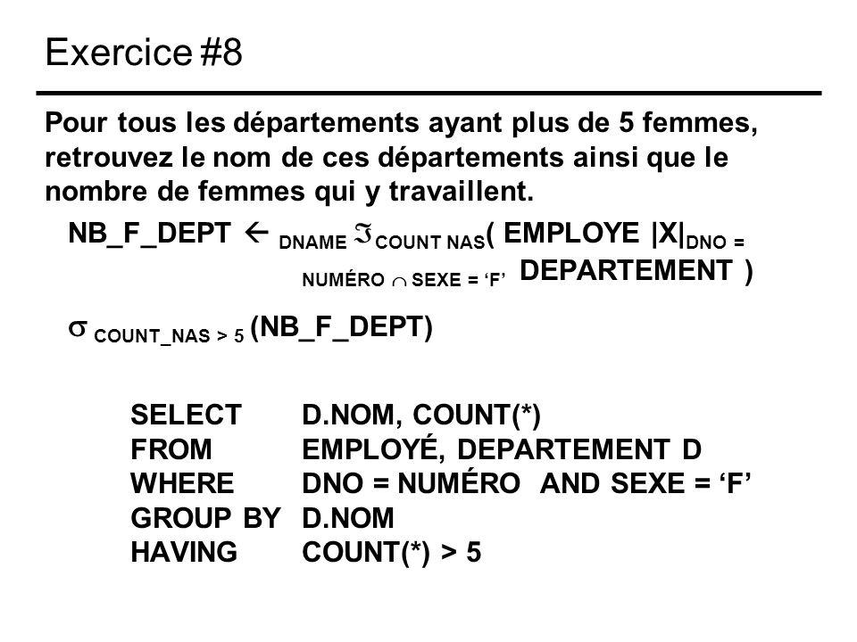 Exercice #8 Pour tous les départements ayant plus de 5 femmes, retrouvez le nom de ces départements ainsi que le nombre de femmes qui y travaillent. N