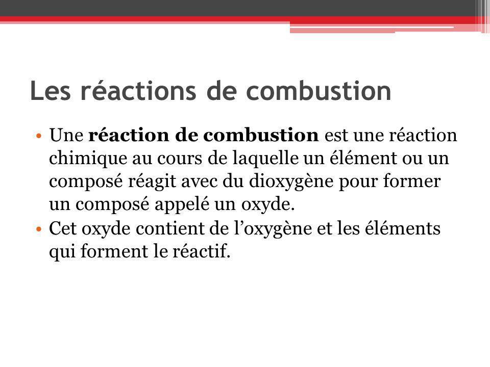 Les réactions de combustion Une réaction de combustion est une réaction chimique au cours de laquelle un élément ou un composé réagit avec du dioxygèn