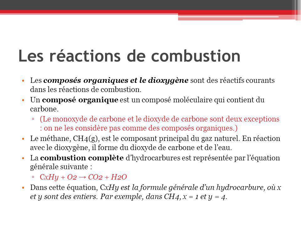 Les réactions de combustion Les composés organiques et le dioxygène sont des réactifs courants dans les réactions de combustion. Un composé organique