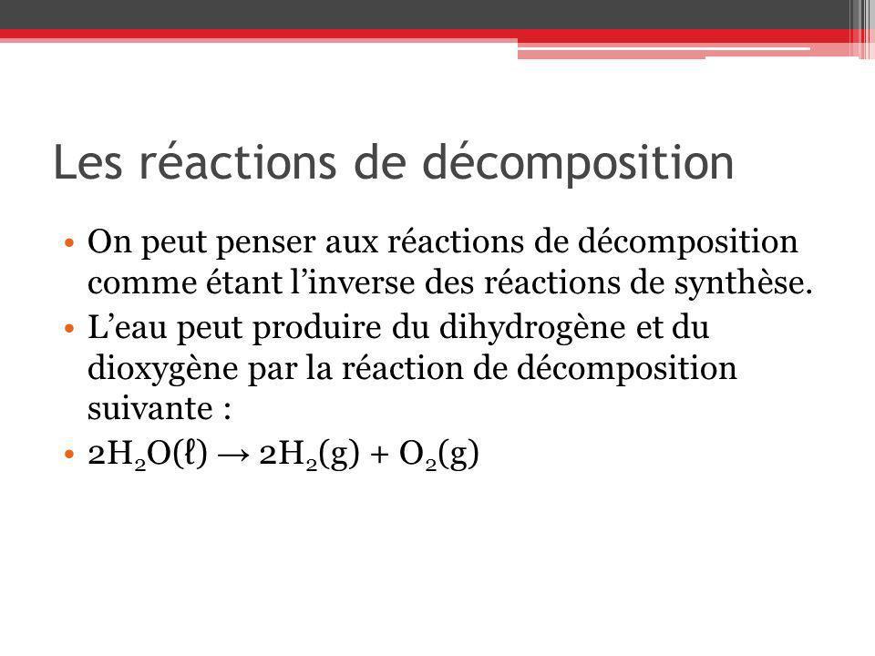 Les réactions de décomposition On peut penser aux réactions de décomposition comme étant linverse des réactions de synthèse. Leau peut produire du dih