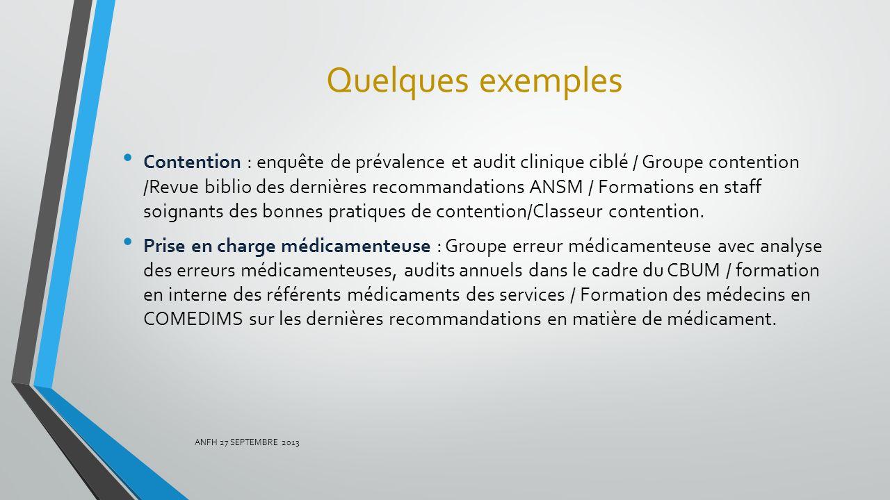 Quelques exemples Contention : enquête de prévalence et audit clinique ciblé / Groupe contention /Revue biblio des dernières recommandations ANSM / Fo