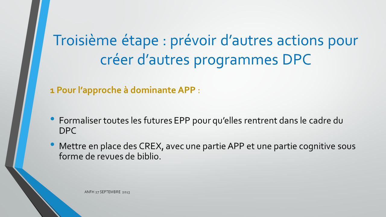 Troisième étape : prévoir dautres actions pour créer dautres programmes DPC 1 Pour lapproche à dominante APP : Formaliser toutes les futures EPP pour