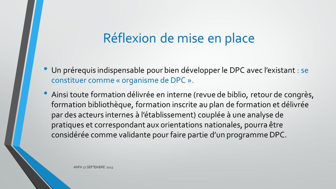 Réflexion de mise en place Un prérequis indispensable pour bien développer le DPC avec lexistant : se constituer comme « organisme de DPC ». Ainsi tou