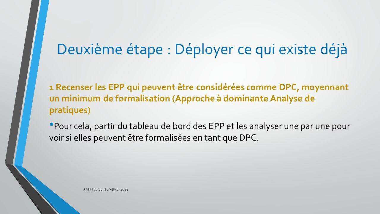 Deuxième étape : Déployer ce qui existe déjà 1 Recenser les EPP qui peuvent être considérées comme DPC, moyennant un minimum de formalisation (Approch