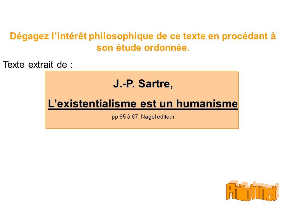 Dégagez lintérêt philosophique de ce texte en procédant à son étude ordonnée. Texte extrait de : J.-P. Sartre, Lexistentialisme est un humanisme pp 65