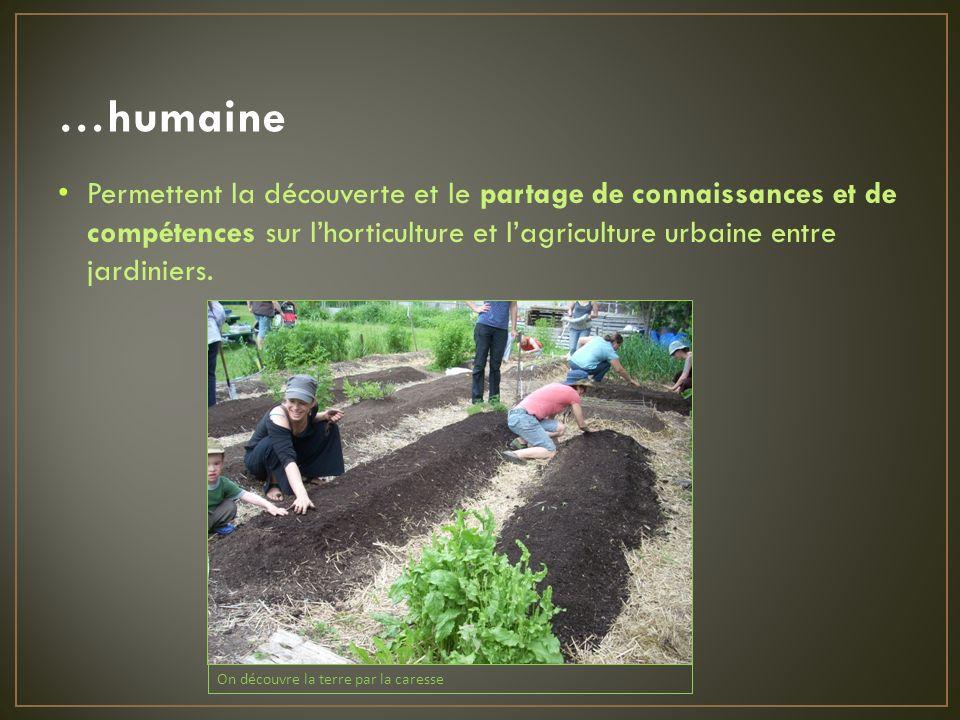 …humaine Permettent la découverte et le partage de connaissances et de compétences sur lhorticulture et lagriculture urbaine entre jardiniers.