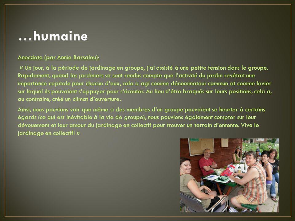 …humaine Anecdote (par Annie Barsalou): « Un jour, à la période de jardinage en groupe, jai assisté à une petite tension dans le groupe.