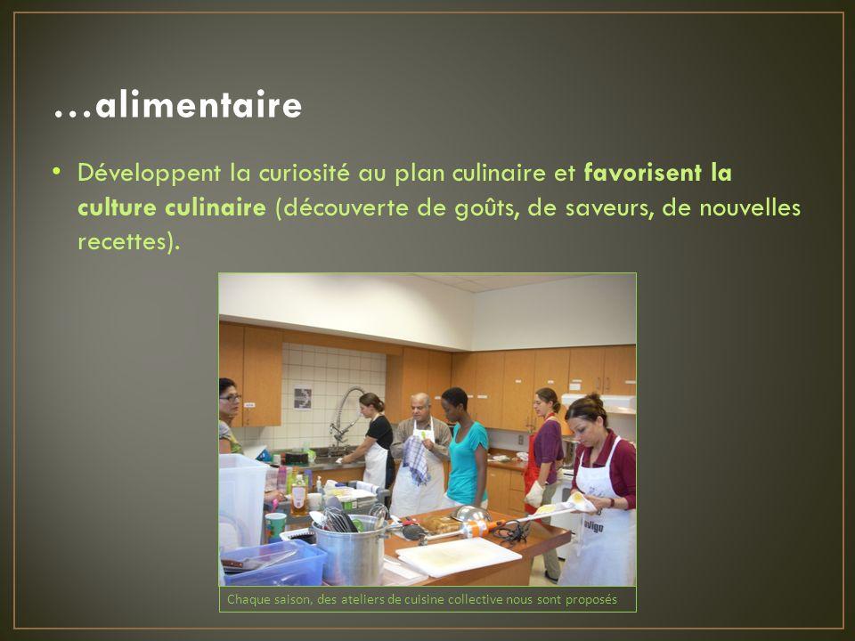 …alimentaire Développent la curiosité au plan culinaire et favorisent la culture culinaire (découverte de goûts, de saveurs, de nouvelles recettes).