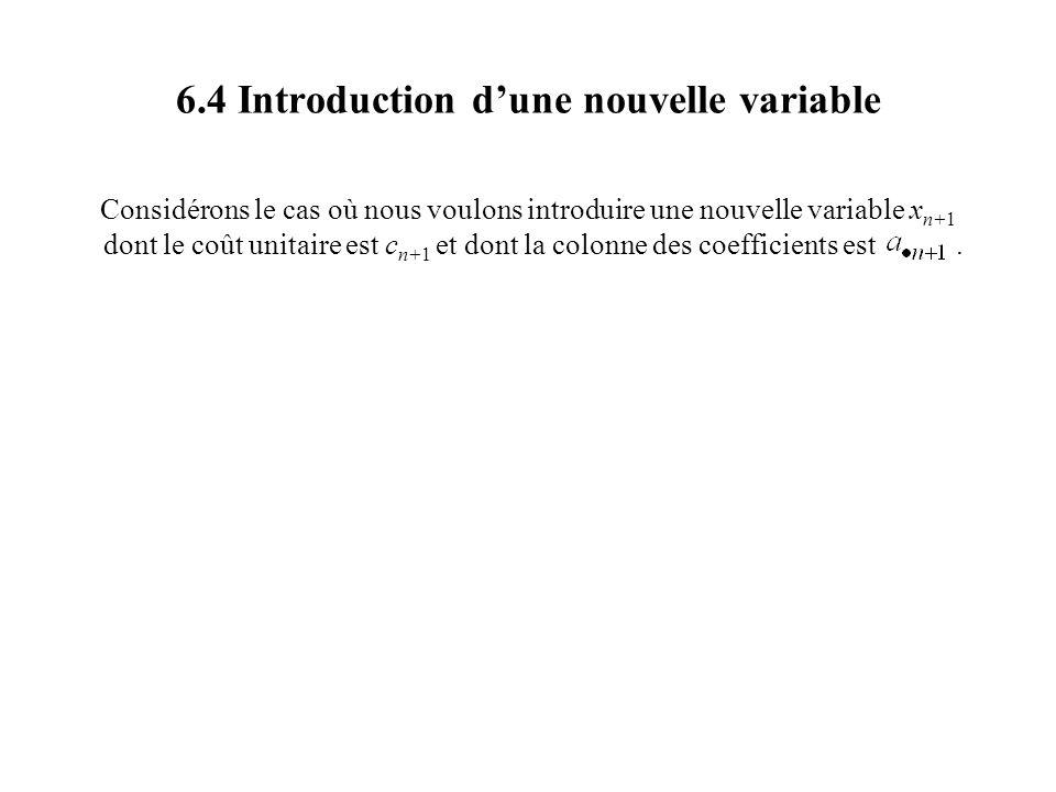 6.4 Introduction dune nouvelle variable Considérons le cas où nous voulons introduire une nouvelle variable x n+1 dont le coût unitaire est c n+1 et dont la colonne des coefficients est.