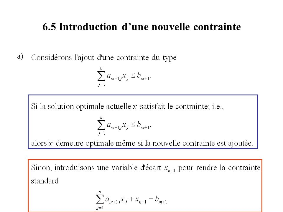 6.5 Introduction dune nouvelle contrainte a)