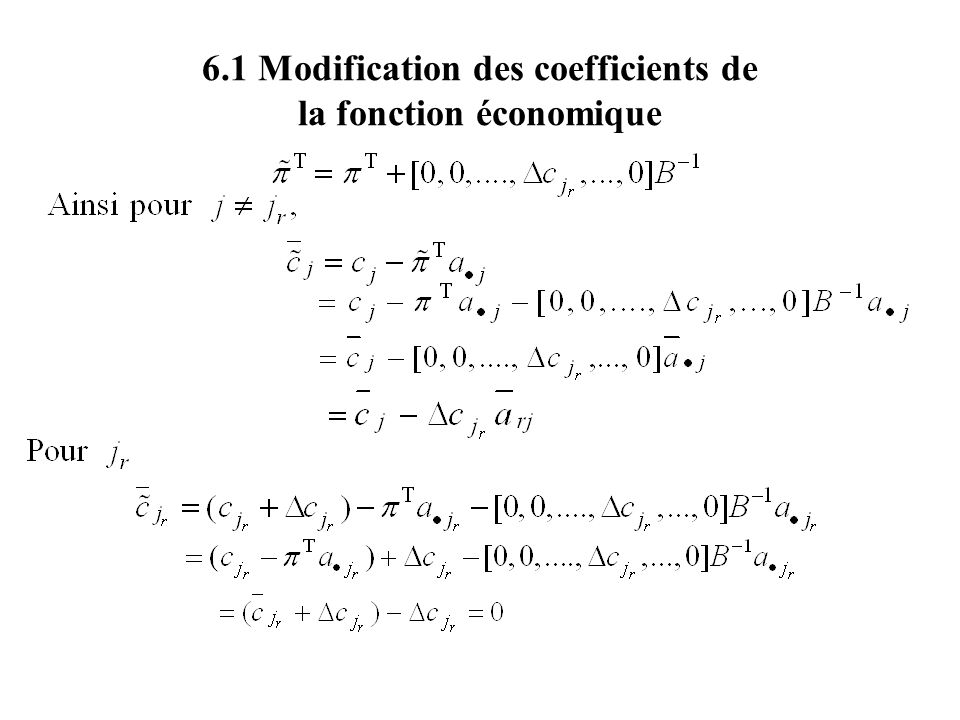 6.1 Modification des coefficients de la fonction économique