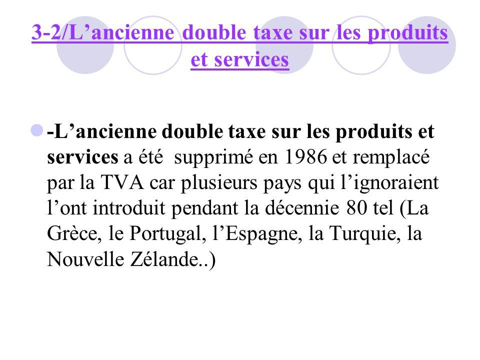 3-2/Lancienne double taxe sur les produits et services -Lancienne double taxe sur les produits et services a été supprimé en 1986 et remplacé par la T