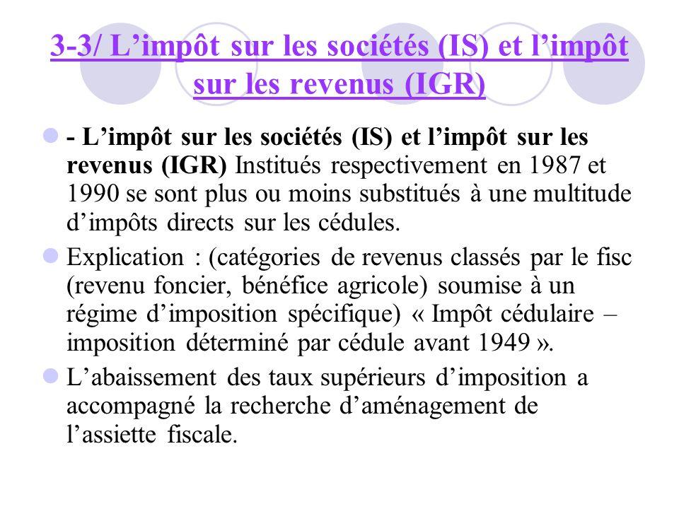 3-3/ Limpôt sur les sociétés (IS) et limpôt sur les revenus (IGR) - Limpôt sur les sociétés (IS) et limpôt sur les revenus (IGR) Institués respectivem