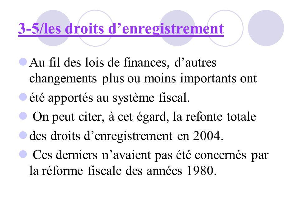 3-5/les droits denregistrement Au fil des lois de finances, dautres changements plus ou moins importants ont été apportés au système fiscal. On peut c